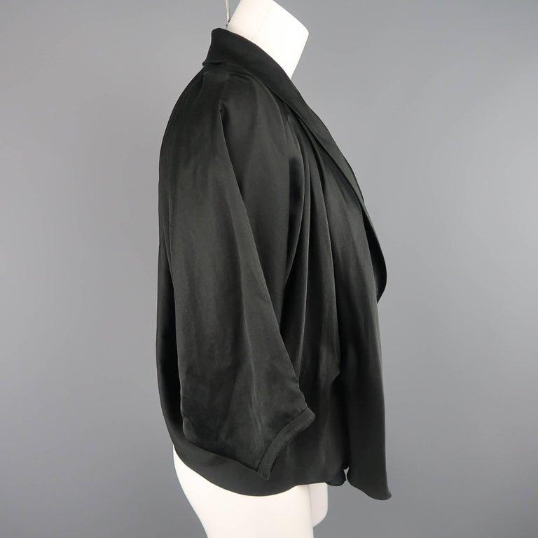 LANVIN Size 4 Black Silk / Cotton Draped Asymmetrical Wrap Blouse For Sale 1