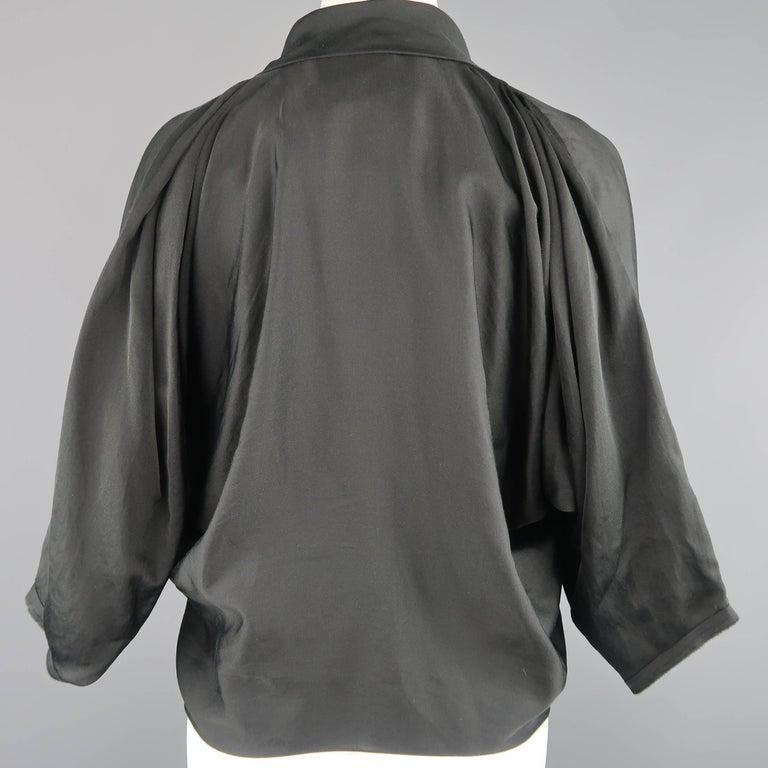 LANVIN Size 4 Black Silk / Cotton Draped Asymmetrical Wrap Blouse For Sale 3