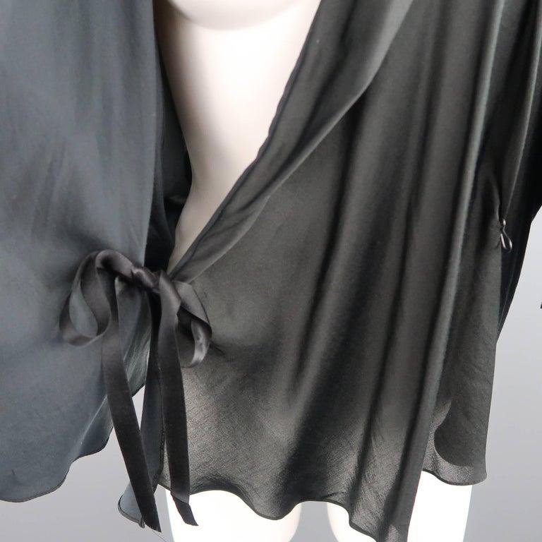 LANVIN Size 4 Black Silk / Cotton Draped Asymmetrical Wrap Blouse In Excellent Condition For Sale In San Francisco, CA