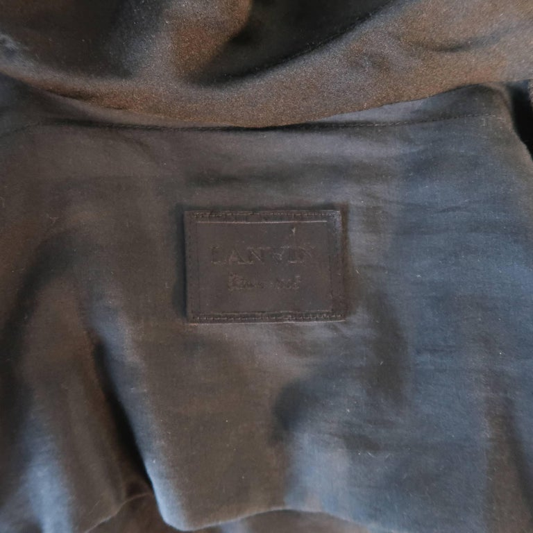 LANVIN Size 4 Black Silk / Cotton Draped Asymmetrical Wrap Blouse For Sale 5