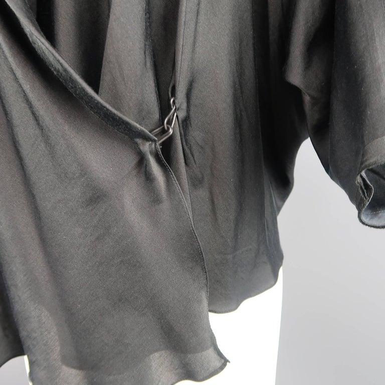 Women's LANVIN Size 4 Black Silk / Cotton Draped Asymmetrical Wrap Blouse For Sale