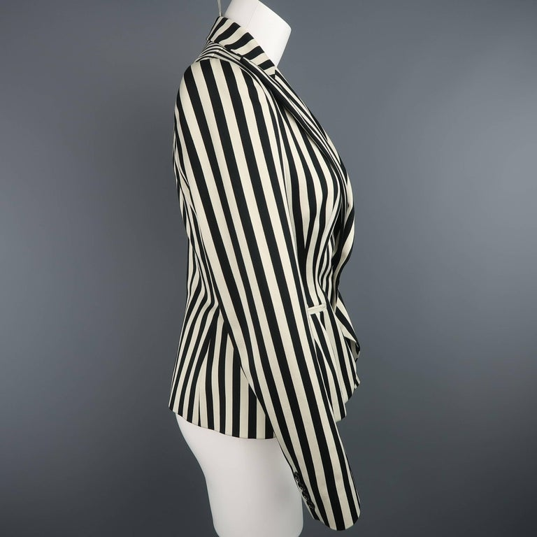 Women's RALPH LAUREN Size 8 Cream & Black Striped Cotton Peak Lapel Jacket For Sale