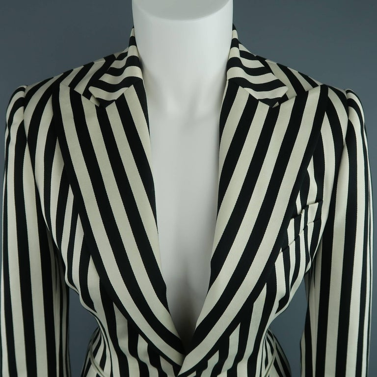 RALPH LAUREN COLLECTION cropped sport coat comes in cream and black striped cotton and features a wide peak lapel, strong shoulder, single button front, and round silhouette hip. Made in USA.   Excellent Pre-Owned Condition. Marked: 8
