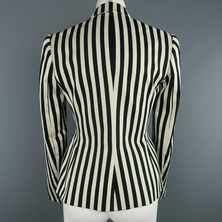 RALPH LAUREN Size 8 Cream & Black Striped Cotton Peak Lapel Jacket For Sale 1
