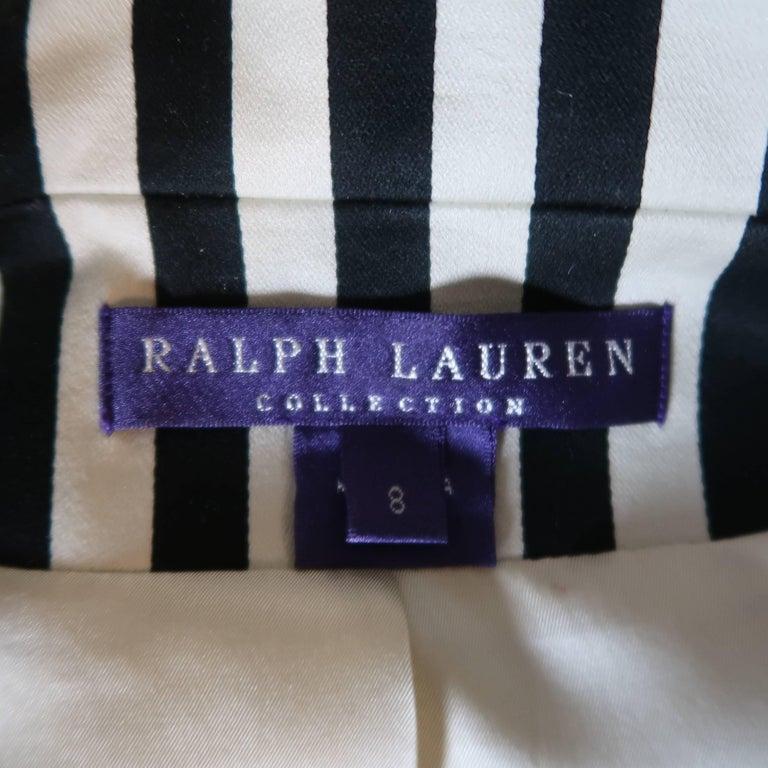 RALPH LAUREN Size 8 Cream & Black Striped Cotton Peak Lapel Jacket For Sale 4