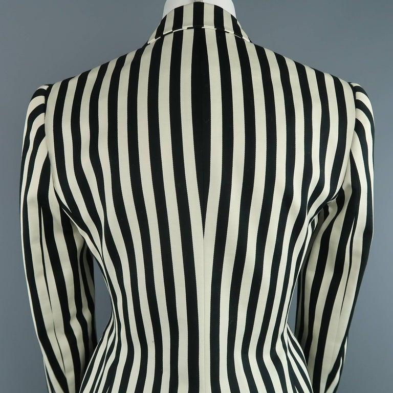RALPH LAUREN Size 8 Cream & Black Striped Cotton Peak Lapel Jacket For Sale 2