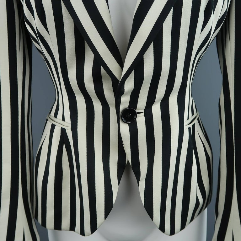Ralph Lauren Cream and Black Striped Cotton Peak Lapel Jacket In Excellent Condition For Sale In San Francisco, CA