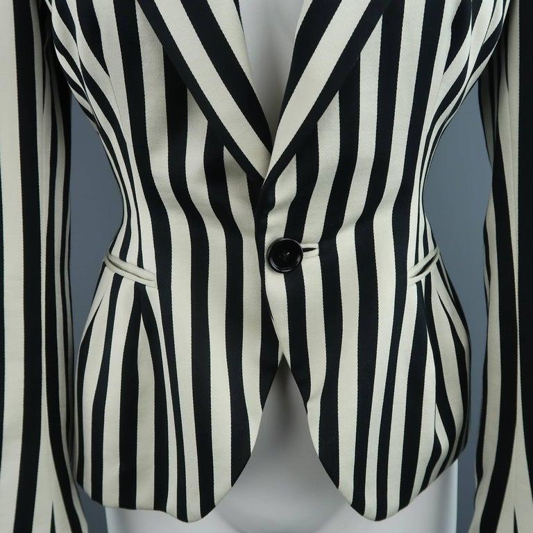 RALPH LAUREN Size 8 Cream & Black Striped Cotton Peak Lapel Jacket In Excellent Condition For Sale In San Francisco, CA