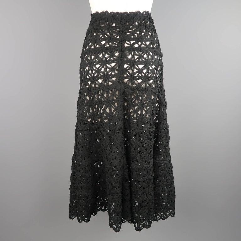Donna Karan Black Silk Floral Crochet Mesh A Line Maxi Skirt Size 6  For Sale 2