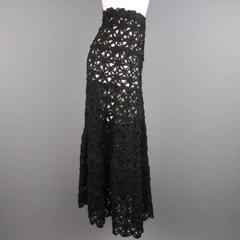 Donna Karan Black Silk Floral Crochet Mesh A Line Maxi Skirt Size 6  For Sale 1