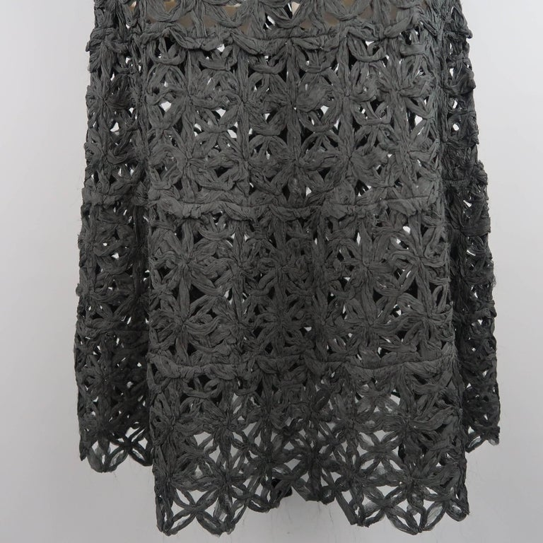 Donna Karan Black Silk Floral Crochet Mesh A Line Maxi Skirt Size 6  In Excellent Condition For Sale In San Francisco, CA