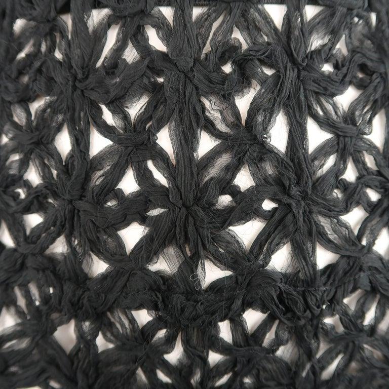 Women's Donna Karan Black Silk Floral Crochet Mesh A Line Maxi Skirt Size 6  For Sale