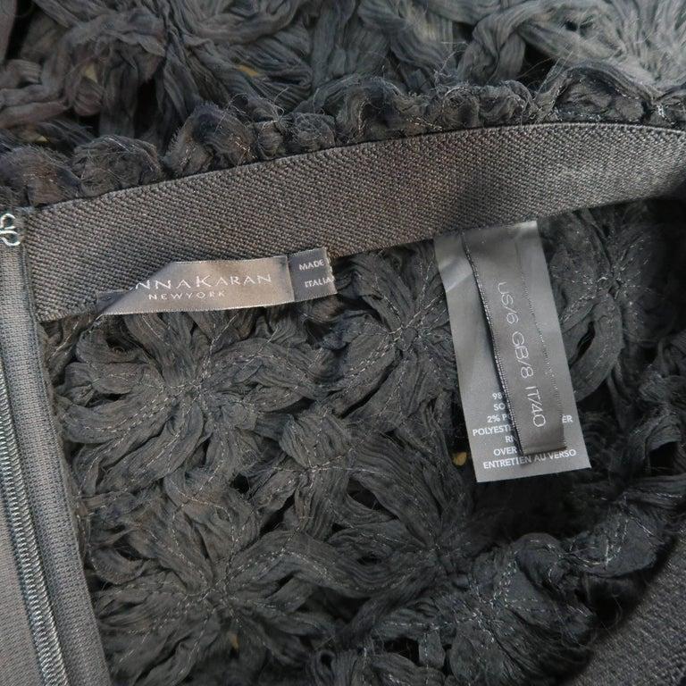 Donna Karan Black Silk Floral Crochet Mesh A Line Maxi Skirt Size 6  For Sale 3