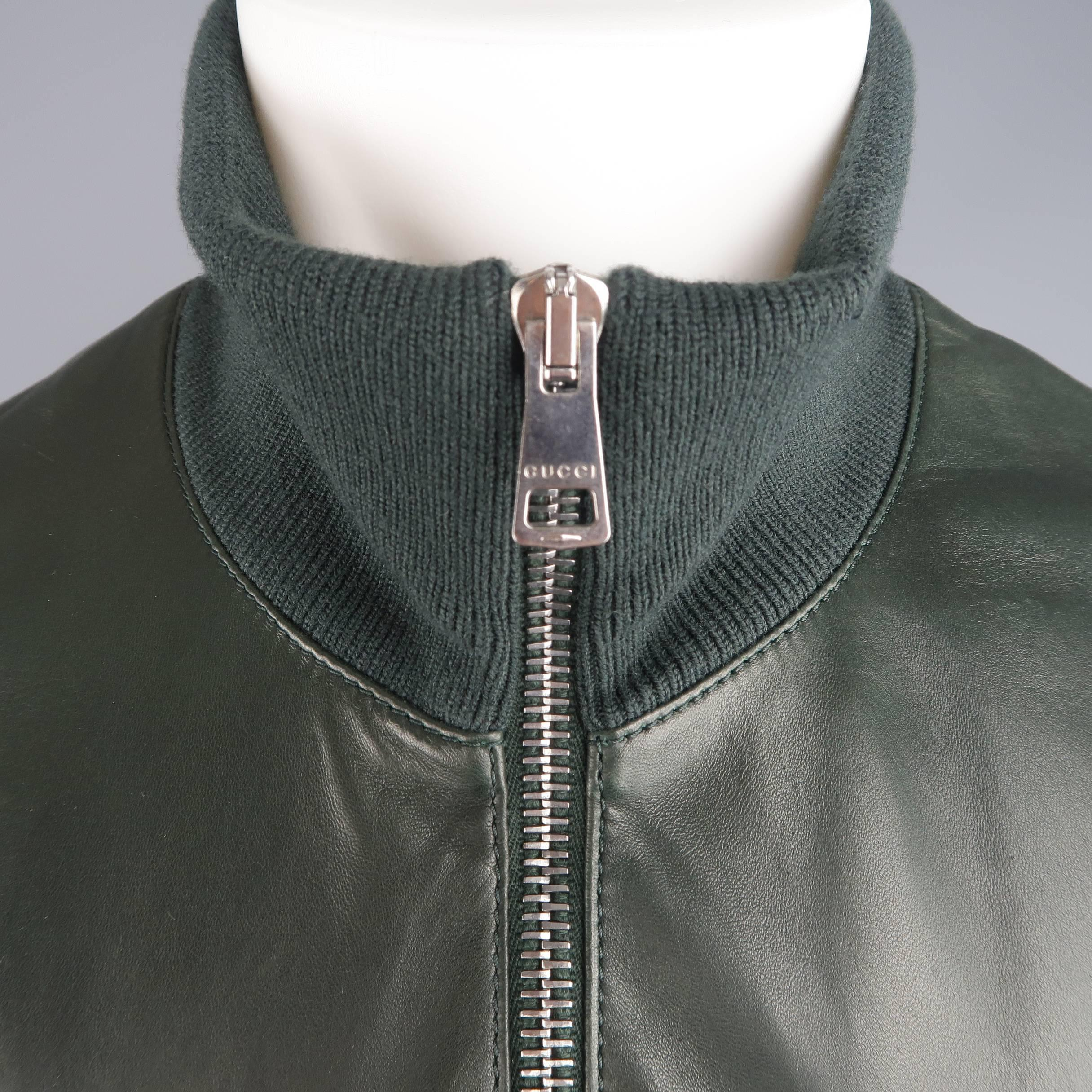 87d78d796 Gucci Men's Forest Green Leather Striped Collar Bomber Jacket at 1stdibs