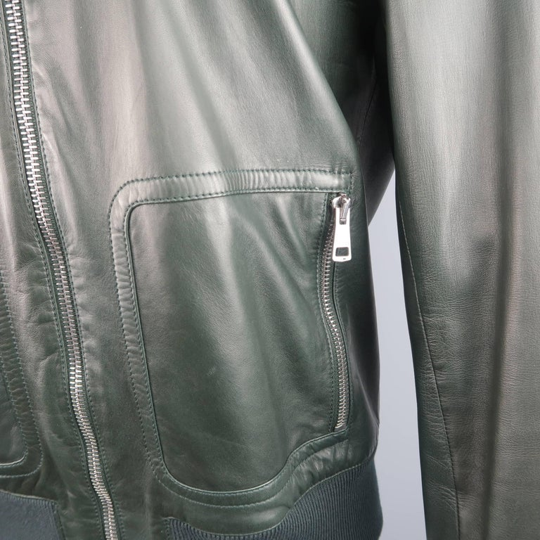 95cb2aa9c0c0c Women s or Men s Gucci Men s Forest Green Leather Striped Collar Bomber  Jacket For Sale