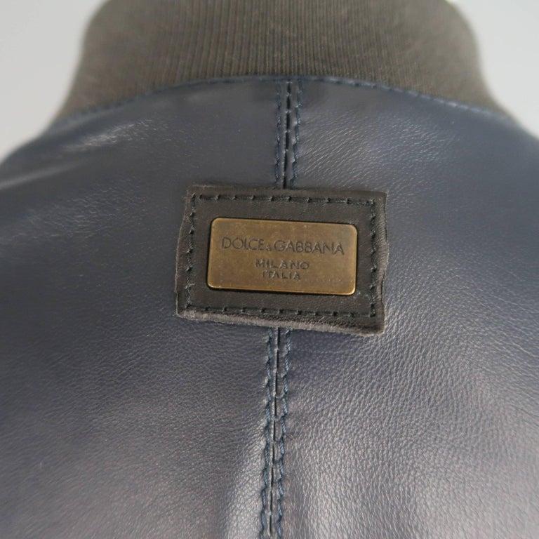 Herren Bomber Lammfell Dolceamp; 42 Mit Jacke Größe Leder Manschette Grau Gabbana Marine OkXiuPZT