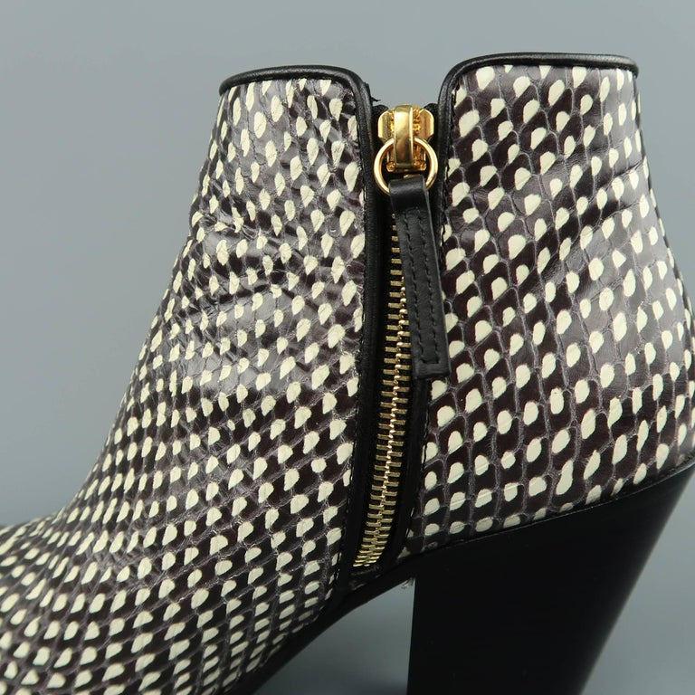 GIUSEPPE ZANOTTI Size 7.5 Black & White Snake Leather Ankle Boots For Sale 1