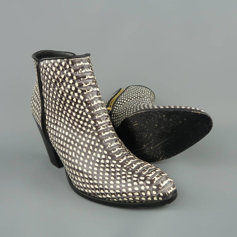 Women's GIUSEPPE ZANOTTI Size 7.5 Black & White Snake Leather Ankle Boots For Sale