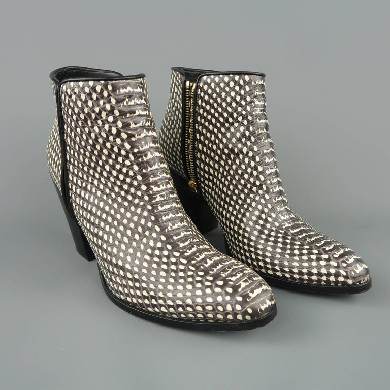 GIUSEPPE ZANOTTI Size 7.5 Black & White Snake Leather Ankle Boots In Good Condition For Sale In San Francisco, CA