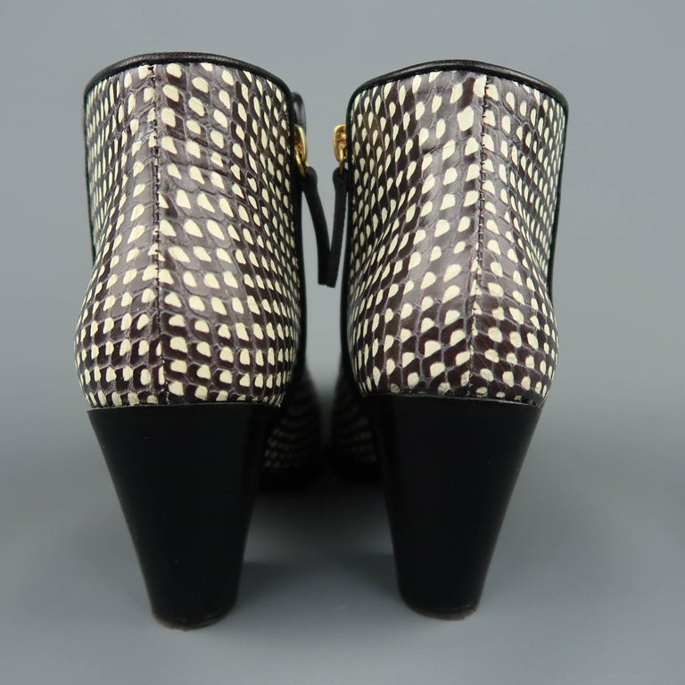 GIUSEPPE ZANOTTI Size 7.5 Black & White Snake Leather Ankle Boots For Sale 2