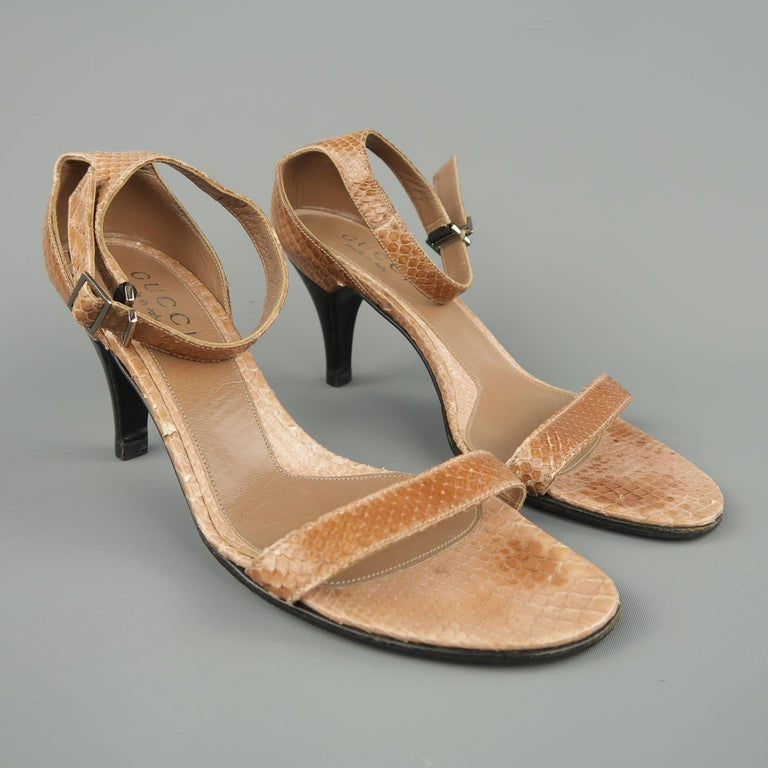 1668123691f GUCCI Size 5.5 Tan Ankle Snake Skin Ankle Strap Sandals For Sale at ...