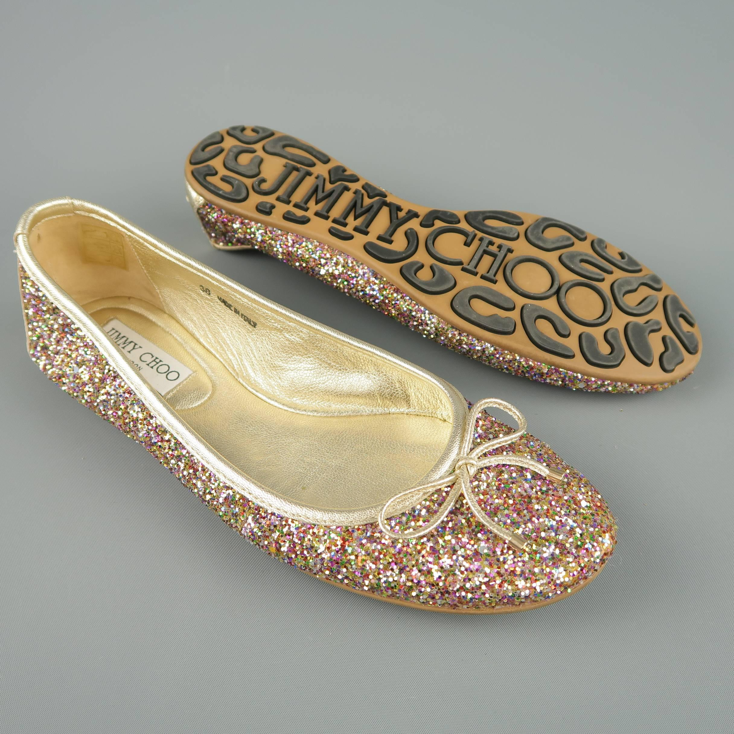 0c34b2494f0 ... new zealand brown jimmy choo size 8 gold leather multi color glitter ballet  flats for sale