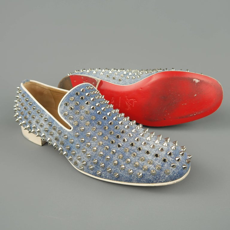 Men S Christian Louboutin Size 9 5 Blue Spiked Denim Rollerboy Spike Loafers