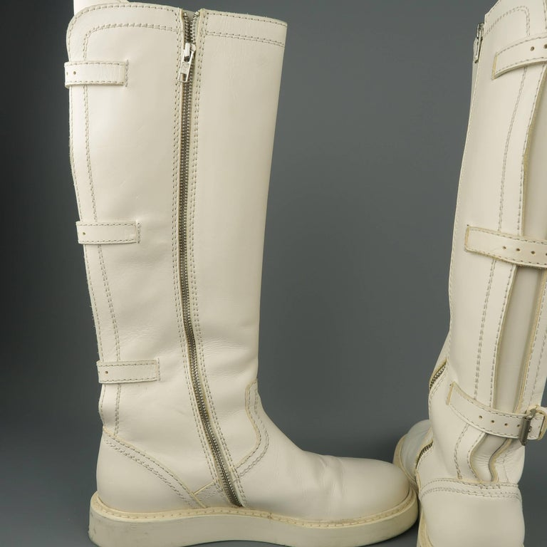 Ann Demeulemeester Men's White Leather Strap Back Knee High Boots For Sale 5