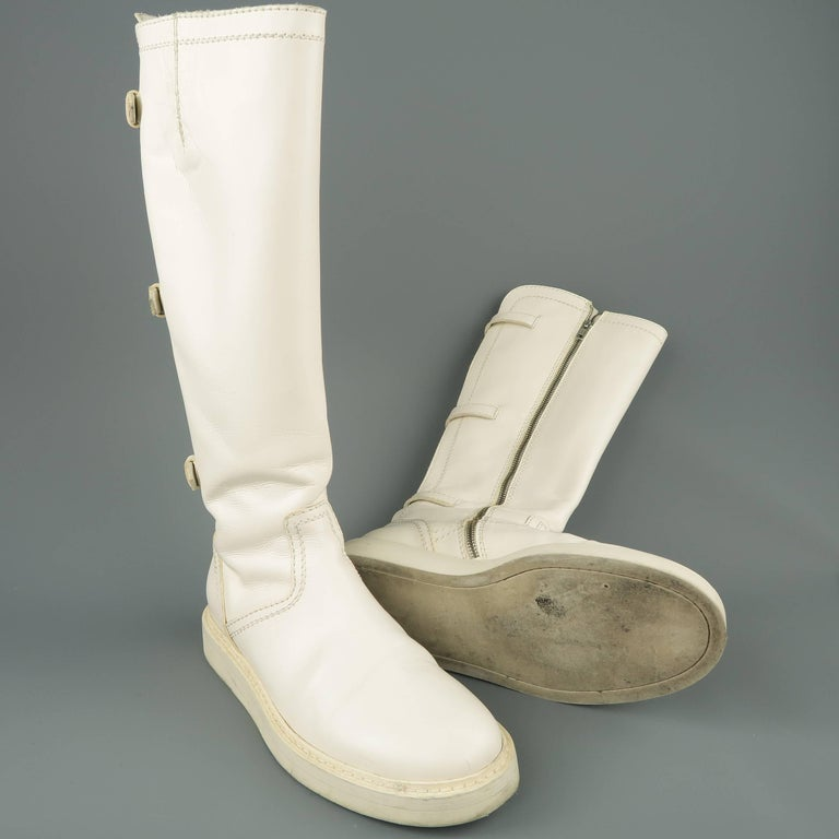Ann Demeulemeester Men's White Leather Strap Back Knee High Boots In Good Condition For Sale In San Francisco, CA