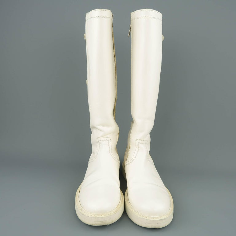 Ann Demeulemeester Men's White Leather Strap Back Knee High Boots For Sale 1