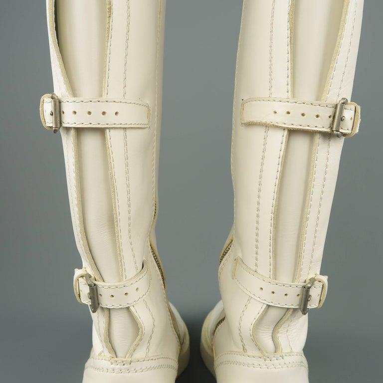 Ann Demeulemeester Men's White Leather Strap Back Knee High Boots For Sale 6