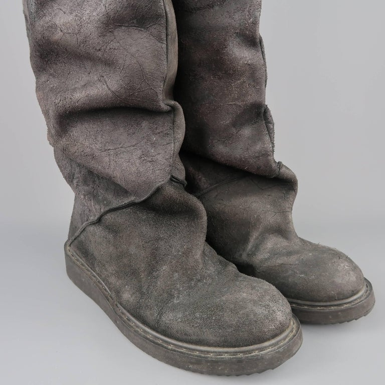 Rick Owens Men's Black Suede Knee High Slouchy Boots In Good Condition For Sale In San Francisco, CA