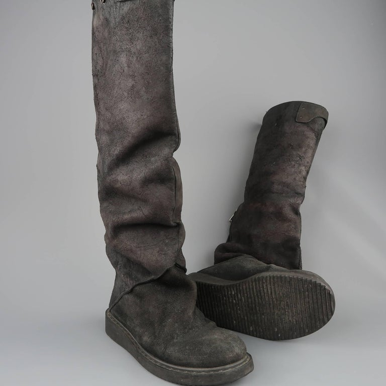 Rick Owens Men's Black Suede Knee High Slouchy Boots For Sale 1