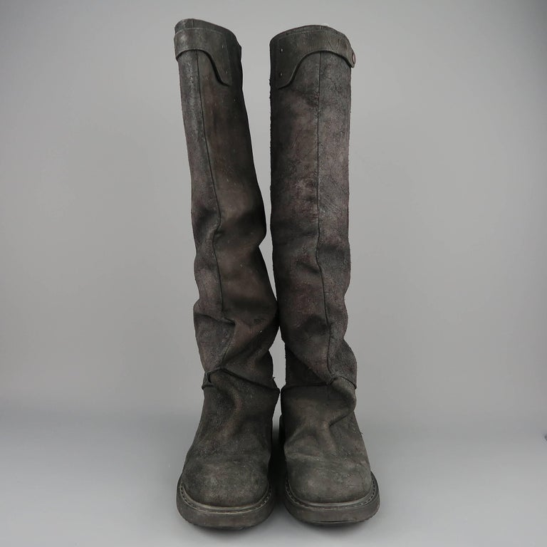 Rick Owens Men's Black Suede Knee High Slouchy Boots For Sale 2