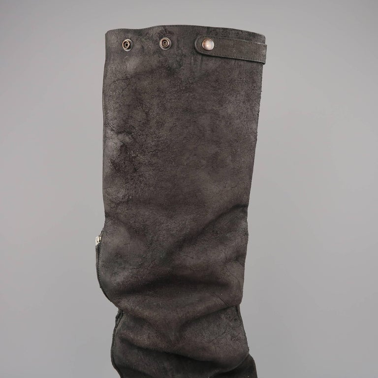 Rick Owens Men's Black Suede Knee High Slouchy Boots For Sale 5