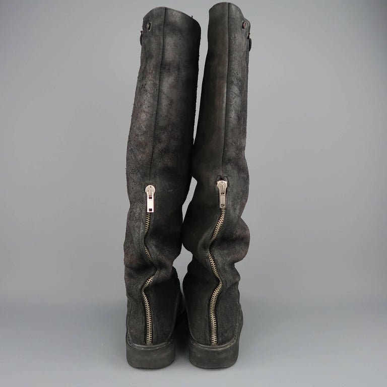 Rick Owens Men's Black Suede Knee High Slouchy Boots For Sale 6