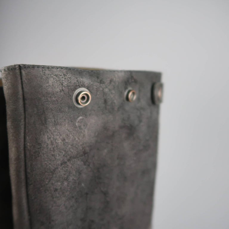 Rick Owens Men's Black Suede Knee High Slouchy Boots For Sale 8