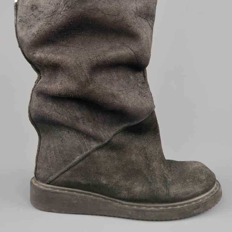 Rick Owens Men's Black Suede Knee High Slouchy Boots For Sale 4