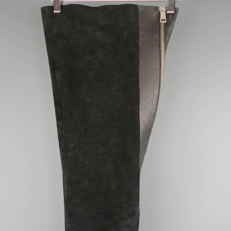 Rick Owens Men's Black Leather Thigh High Fold Over Anthem Boots In Fair Condition For Sale In San Francisco, CA