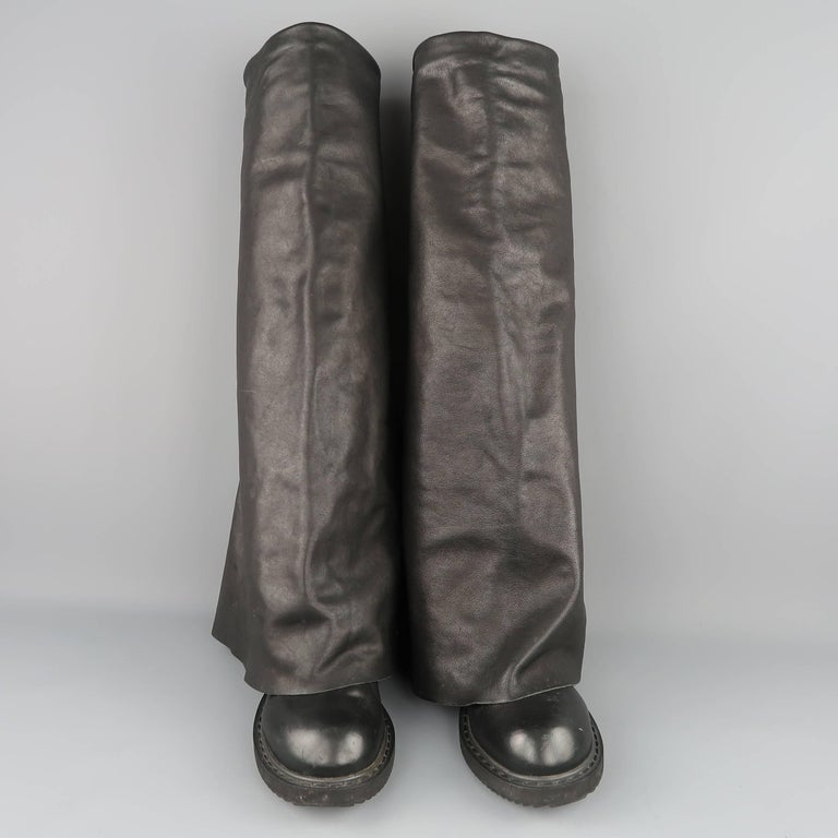 Rick Owens Men's Black Leather Thigh High Fold Over Anthem Boots For Sale 1