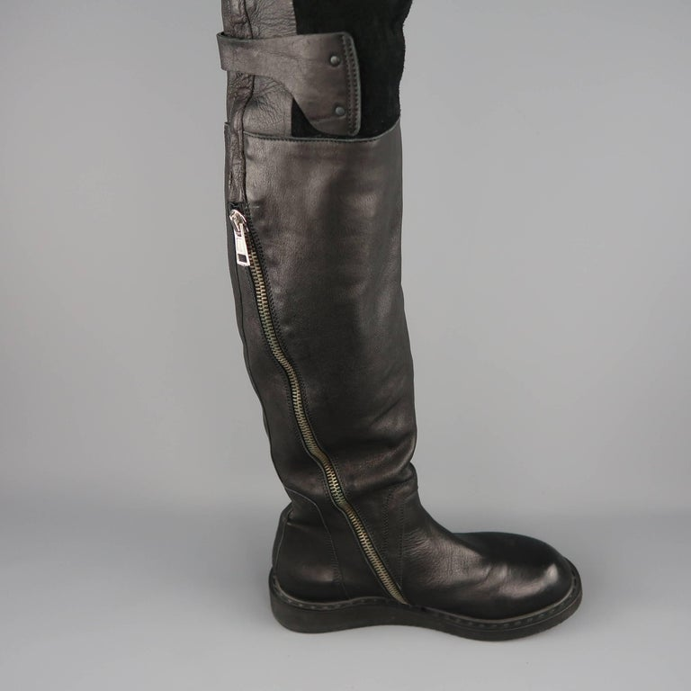 Rick Owens Men's Black Leather Thigh High Fold Over Anthem Boots For Sale 6