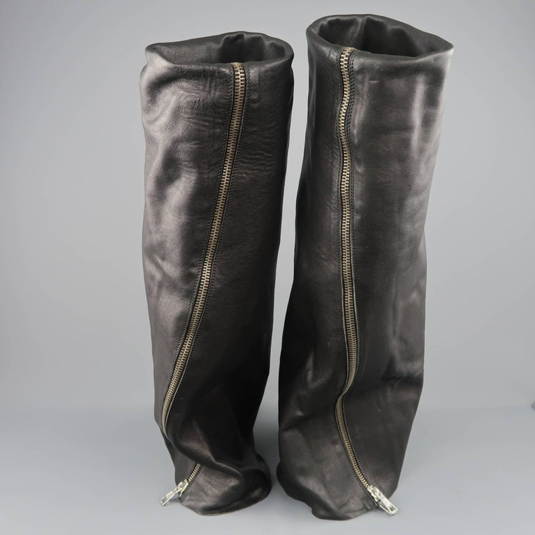 Rick Owens Men's Black Leather Thigh High Fold Over Anthem Boots For Sale 3
