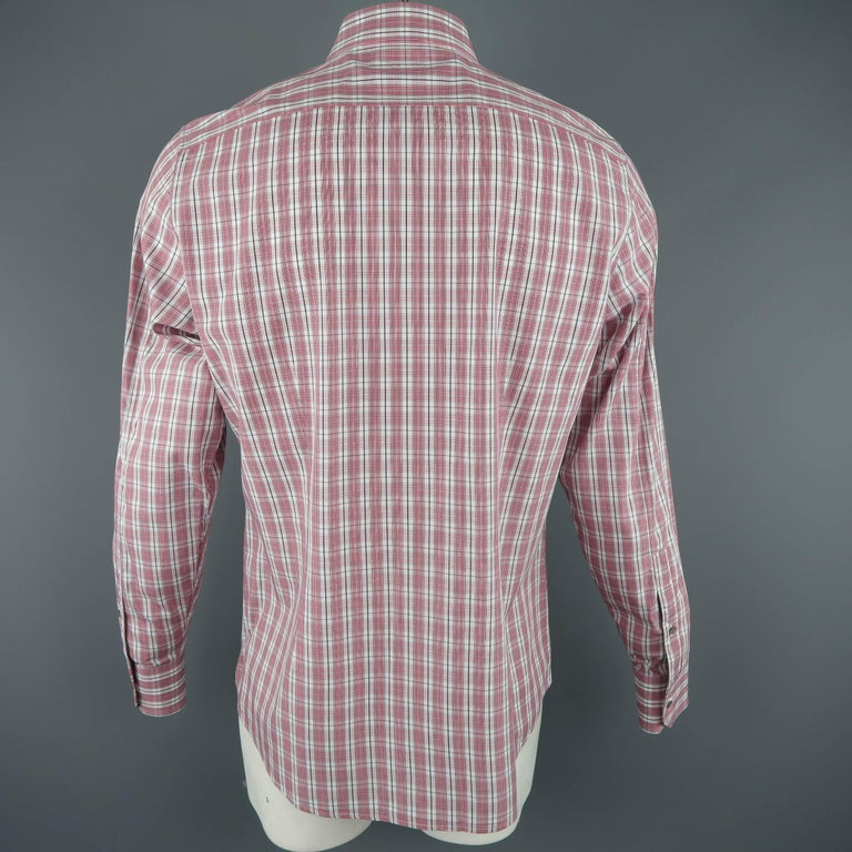 ecde1e98499 Men s GUCCI Size XL Red   White Plaid Cotton Long Sleeve Slim Dress Shirt  In Excellent