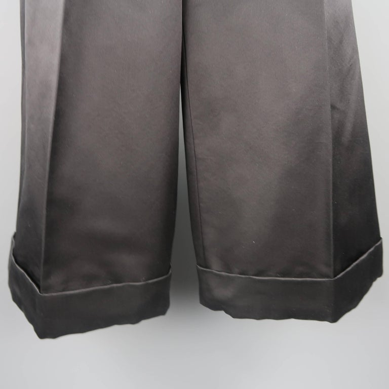 MARC JACOBS Size 6 Black Silk Wide Leg Pleated Culottes Pants In Excellent Condition For Sale In San Francisco, CA