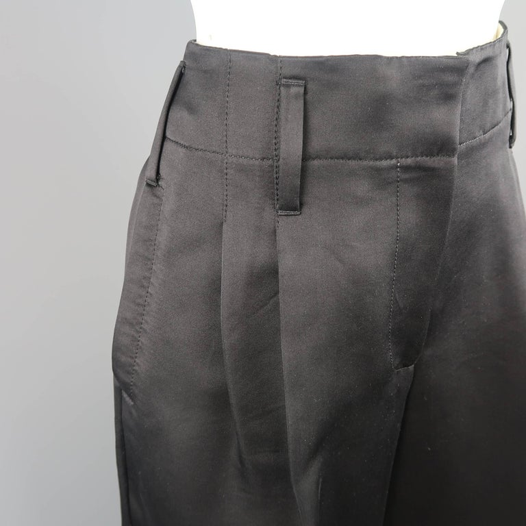 Women's MARC JACOBS Size 6 Black Silk Wide Leg Pleated Culottes Pants For Sale