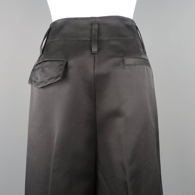 MARC JACOBS Size 6 Black Silk Wide Leg Pleated Culottes Pants For Sale 3