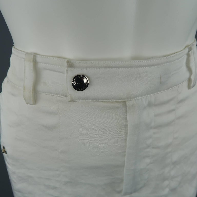 Gray RALPH LAUREN Size 8 White Sheer Satin Cargo Moto Pants For Sale