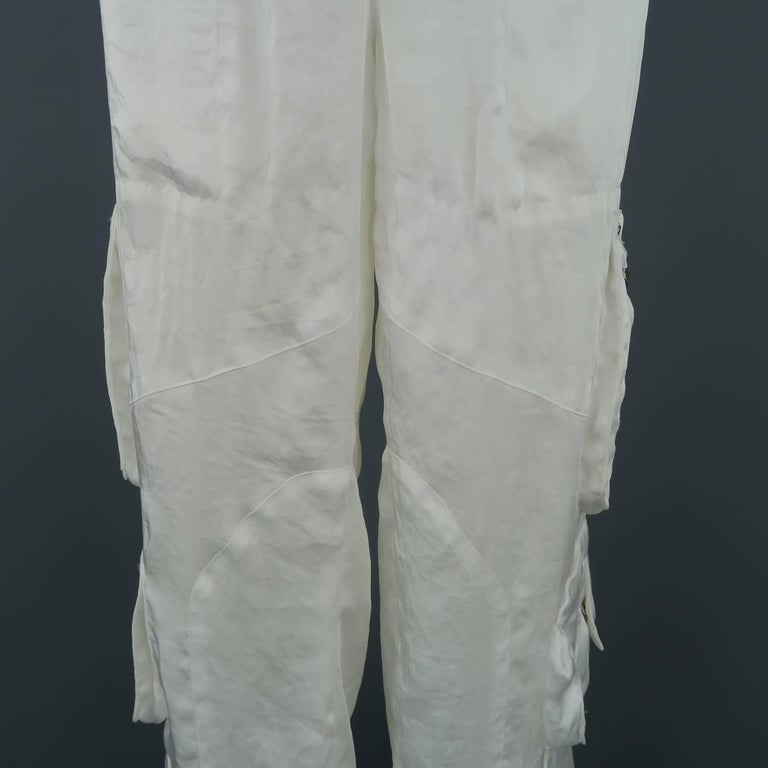 RALPH LAUREN Size 8 White Sheer Satin Cargo Moto Pants In Fair Condition For Sale In San Francisco, CA
