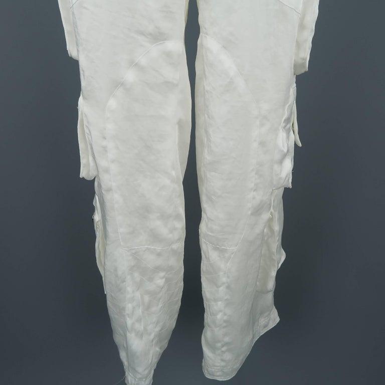 Women's RALPH LAUREN Size 8 White Sheer Satin Cargo Moto Pants For Sale