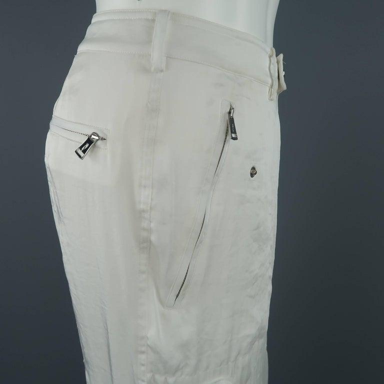 RALPH LAUREN Size 8 White Sheer Satin Cargo Moto Pants For Sale 1